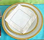 Cocktail Napkin. Fashions Designer color.White with Ivory border