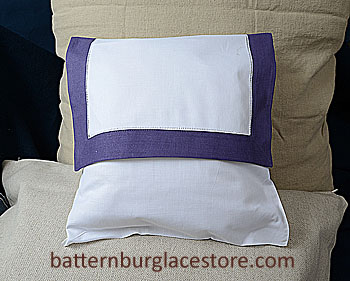 Envelope Pillow. 12 inches. White with IMPERIAL PURPLE border