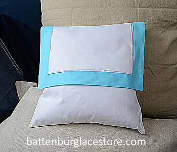 Envelope Pillow. 12 inches. White with AQUA BLUE color border.
