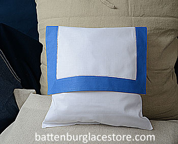 Envelope Pillow. 12 inches. White with FRENCH BLUE color trims.