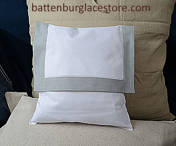 Envelope Pillow. 12 inches. Whtie with HIGH RISE GRAY border