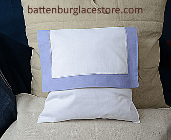 Envelope Pillow. 12 inches. White with SWEET LAVENDER color trim