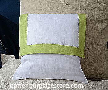 Envelope Pillow.12 inches. White with MACAW GREEN color trims.