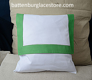 Envelope Pillow. 12 inches. White with MINT GREEN color border