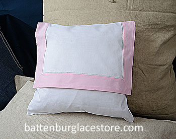 Envelope PIllow. 12 inches. White with PINK LADY pink color trim