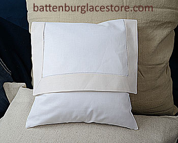 Envelope PIllow. 12 inches. White with SHELL / IVORY border