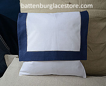 Envelope Pillow. 12 inches. White with TRUE NAVY color border