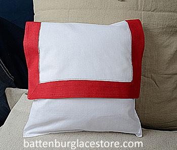 Envelope Pillow. 12 inches. White with TRUE RED color border