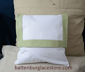 Envelope Pillow.12 inches. White with MELLOW GREEN color border