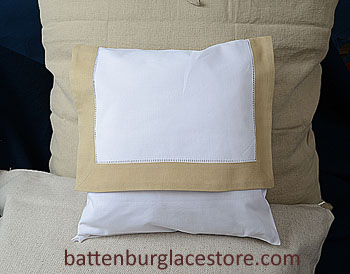 Envelope Pillow. 12 inches. White with SAFARI / TAUPE color trim