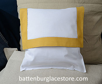 Envelope Pillow. 12 inches. White with HONEY GOLD color trims.