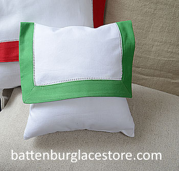 Envelope Pillow.Baby size 8 in. White with MINT GREEN Trim.