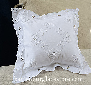 Pillow Sham. 12x12 square pillow. Imperial Style Embroidery