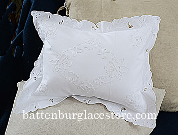 Pillow Sham. Baby 12x16 pillow. Imperial Style Embroidery