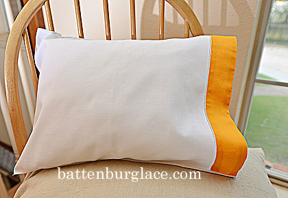 Pillowcases White with Apricot trimming. Set of 2