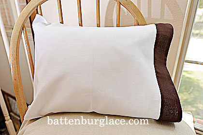 Baby Pillowcases 13 by 17 White with Brown. Set of 2