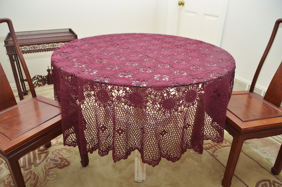 Crochet Round Tablecloth 70 inches Round. Burgundy crochet