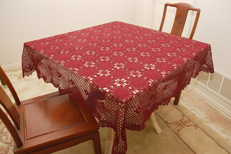 Crochet Square Tablecloth. 54 inches Square. Burgundy crochet