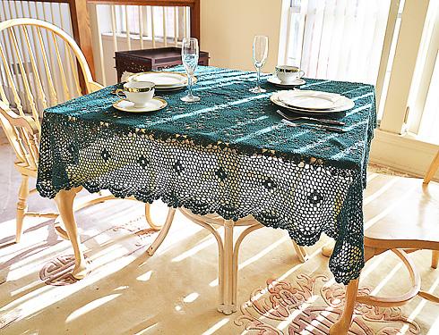 "Festive Crochet Square Tablecloth. Every Green color. 45"" SQ"
