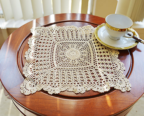 "crochet square placemat. 13"" square. wheat color. 1 piece set"