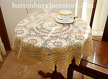 Tablecloth Round Topper. 32 inches Round. Pearl Ivory color
