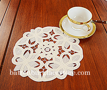 Round Doily.Christina Crystal Lace.Pistachio Shell color. 6 pcs.