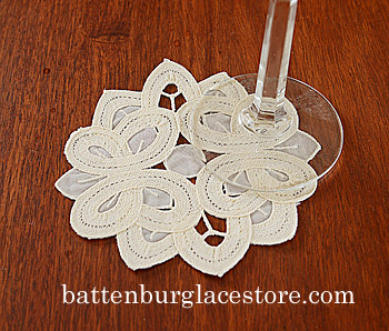 "Round Doily.Christina Crystal Lace.4"".Pistachio Shell color.12pc"