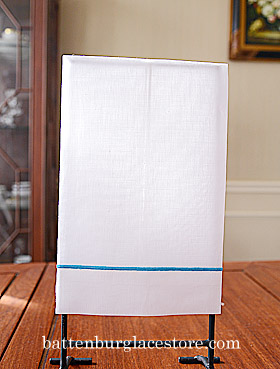 Guest towel.14x22in.Single line cord embroidery. Aqua Blue color