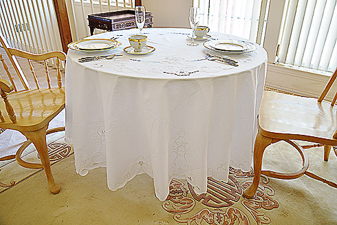 "Imperial fine embroidery round tablecloth. 88"" x 88"" Round."