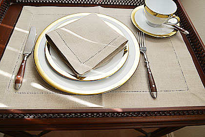 Linen Luncheon Napkin.12x12in.Linen color (Flax color).Hemstitch