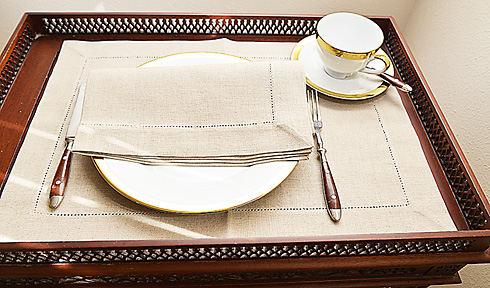 "Linen Placemat. Natural Linen Flax Linen Placemat. 14""x20"". 1 pc"