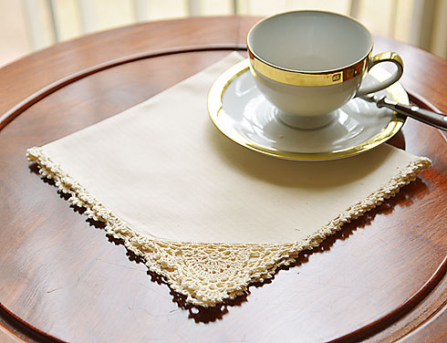 "Pearled Ivory colored Crochet Napkin. 17""square. 12 pieces"