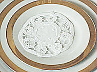 "Round Doily. Battenburg Lace. 4"" White. 12 pieces."