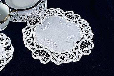 "Round Doily. Battenburg Lace. 14"" Round. White. (4 pieces set)"