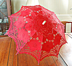 Lace parasol. Battenburg Lace. Red