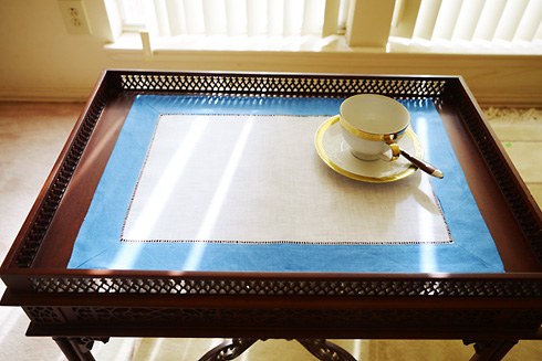 Place Mat. French Blue color trimming.