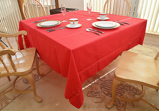 "Red Festive Tablecloth. 90"" square."