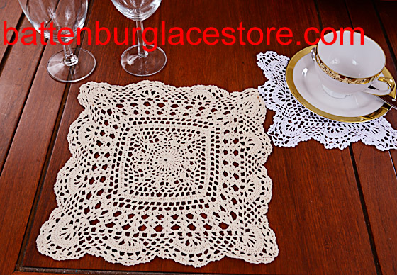 Square Crochet. Sun Flower. 12 in. Ecru (2 pcs set)