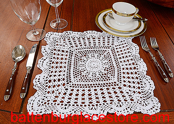 Square Crochet. Sun Flower. 14 in. White (1pc.)