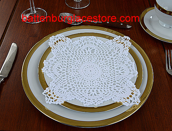 Square Crochet. Sun Flower 8 in. White (6 pcs set)
