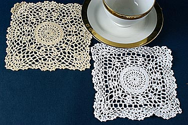 "Square Crochet doilies. 6"" Ecru Square color (12pcs)"