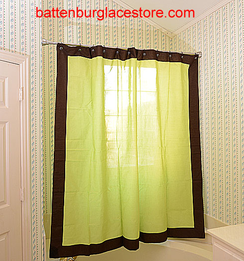 Shower Curtain. Macaw Green with French Roast border