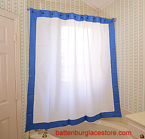Shower Curtain. White with Marina blue border