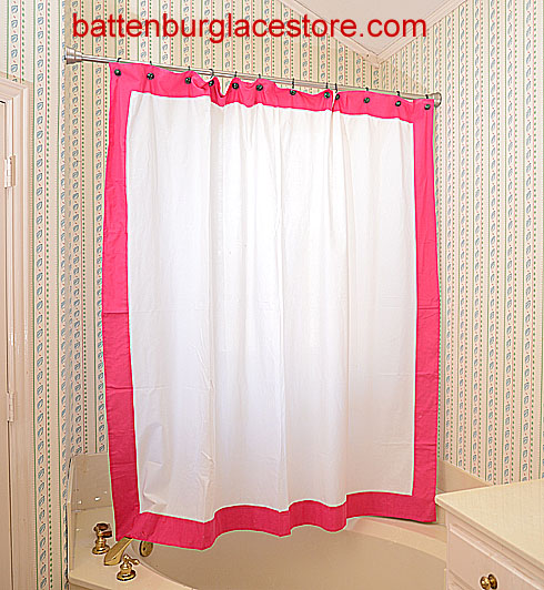 Shower Curtain. White with Raspberry Sorbet color border