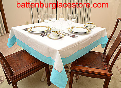 Square Tablecloth. White with color trim. 54 in. Square.