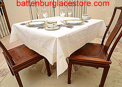 Square Tablecloth. White with color Trims. 54 in.Square.