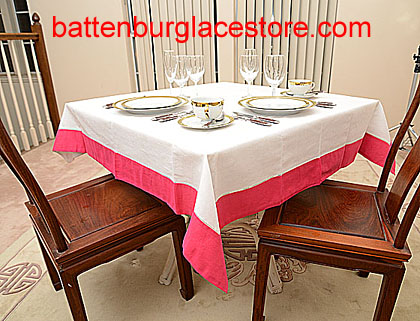 Squre Tablecloth. White with color trims. 54 in.square