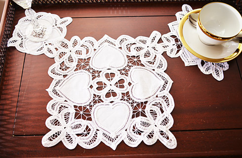 Square Happy Hearts Doilies