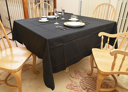 "Festive Square tablecloth.Pure Black color. 70""square"