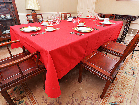 Festive Tablecloth. True Red color. Size:70x140""